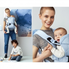Рюкзак-кенгуру BabyBjorn One Air (от 3,5 до 15 кг), цвет Ice-blue fish, Mesh