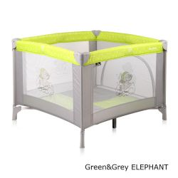 Детский манеж Bertoni Play Station, цвет green&grey elephant